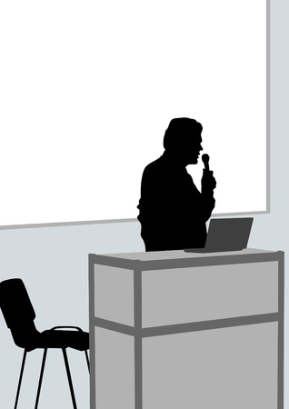 a lecturer at podium with microphone Vector