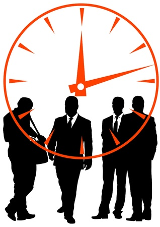 office manager: businessmen in background of clock