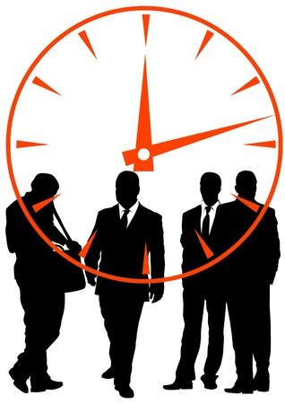 business stress: empresarios en fondo de reloj