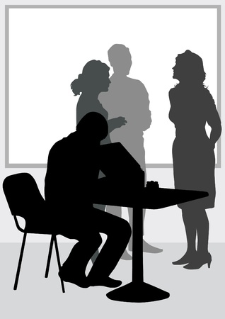 meeting place: people in office of table Illustration