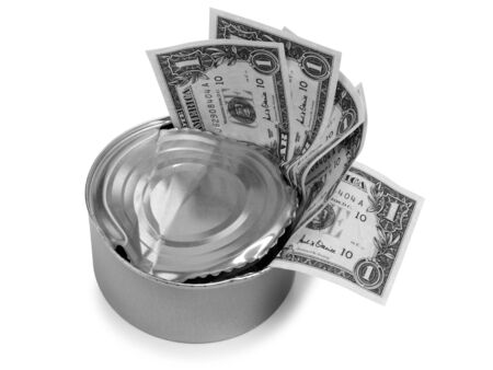 avidity: Photo of metal cans and dollars