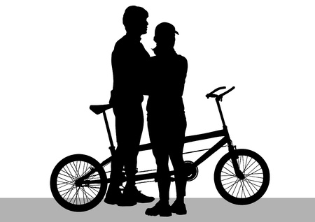 drawing silhouette of a cyclist boys and girls Vector