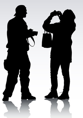 image of young photographers with equipment at work Stock Vector - 9331254