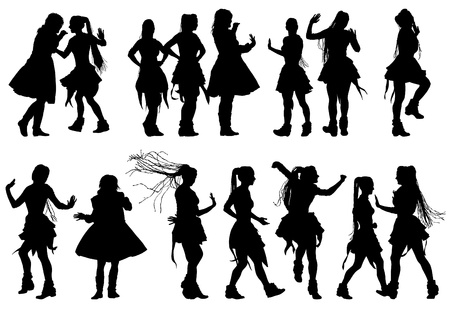 image of russian dancing women. Silhouettes of people Vector