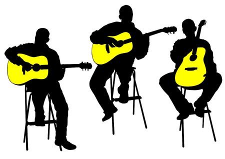guitarristas: Dibujo de un hombre con una guitarra ac�stica vectorial Vectores