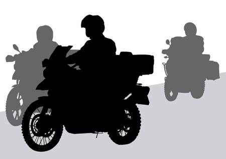 Vector drawing silhouettes road motorcycles on a road Vector