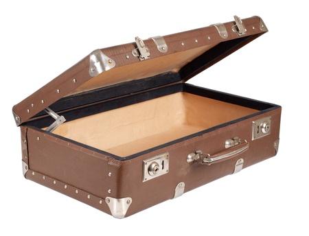 maleta: una maleta antigua sobre fondo blanco         Foto de archivo