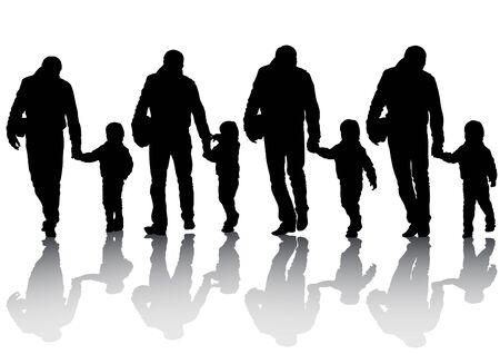 Vector image of silhouettes of father and son Vector