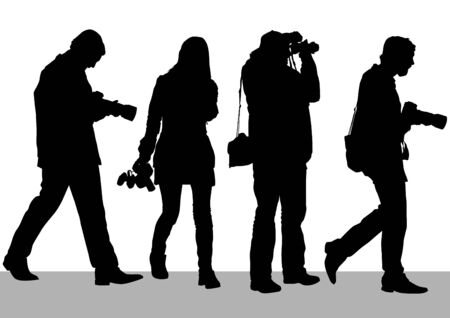 tourist: Vector image of people with cameras for a walk Illustration