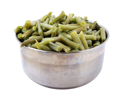 Color photo of green beans in a metal pan         photo