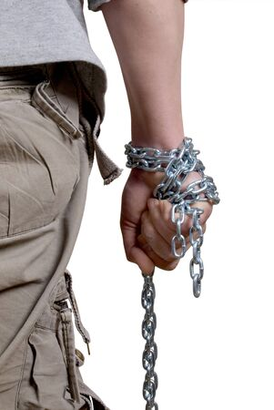 assailant: Color photo of a man with a chain in his hand        Stock Photo