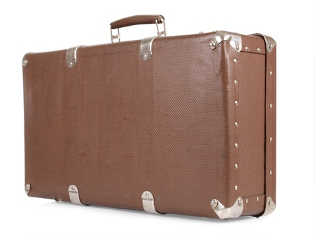 holdall: Color photo of an old suitcase on white background