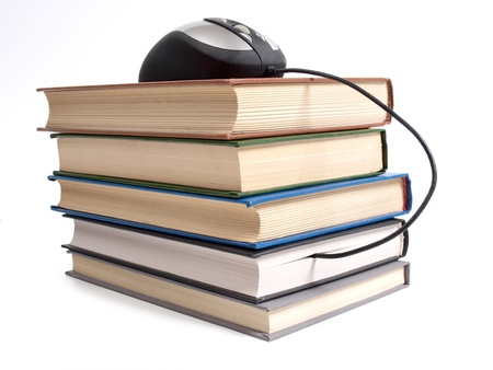 digital book: Color photo of an stack books and mouse
