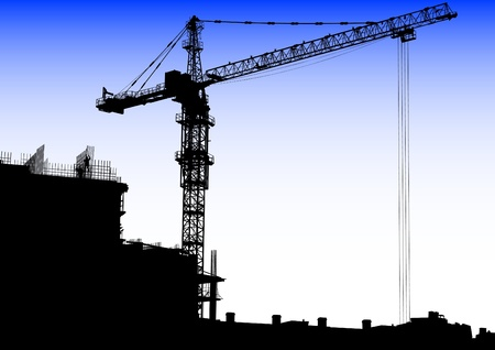 building construction: Vector image of construction cranes and buildings