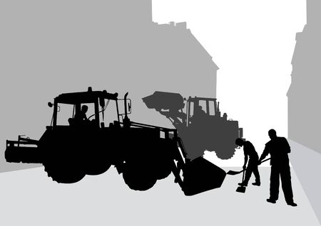 construction dozer: Vector image of construction of tractor and working