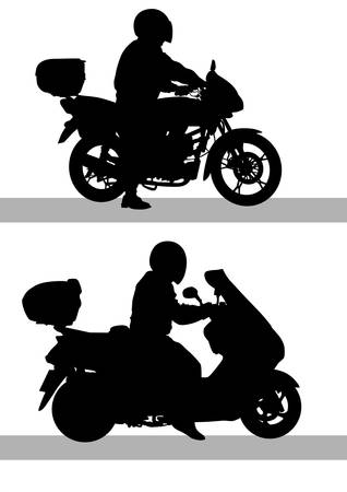 motorcycle rider: Vector drawing a motorcycle on road