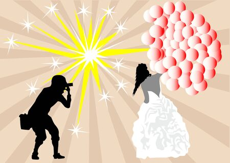 Vector drawing bride with balloons and a photographer Vector