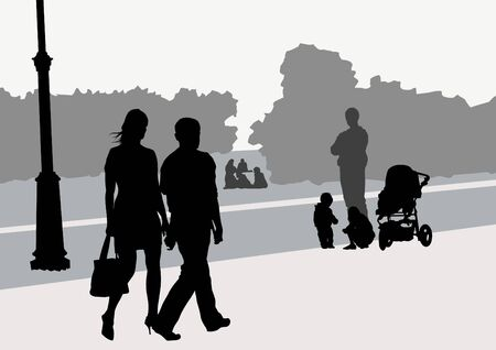 Vector image of park and walking people Vector