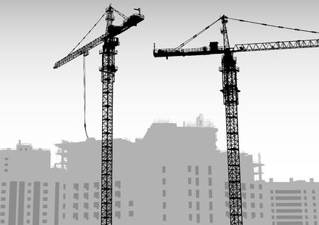 bouwkraan: Vector beeld van bouwkranen en gebouwen Stock Illustratie