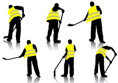 Trabajador de construcción figura de vector con una pala