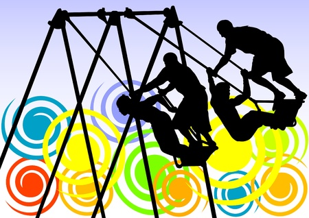 Vector image of people on a swing against backdrop of a rainbow Vector