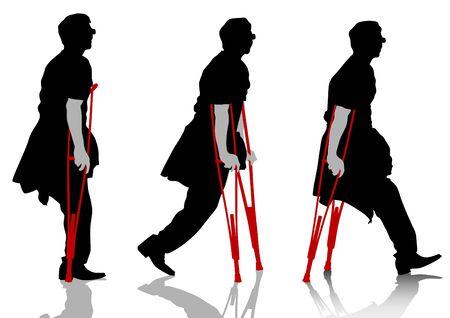 lesionado: Dibujo de un hombre paciente en muletas vectorial