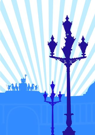 Vector drawing street lights and rays Vector