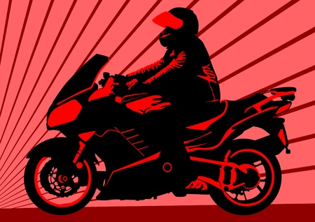 moped: Vector drawing a motorcycle on road