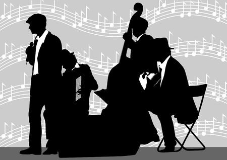 accord�on: Musique de fond orchestre dessin vectoriel Illustration