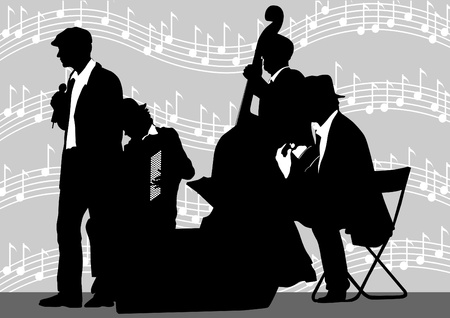 quartet: Vector drawing orchestra background music Illustration
