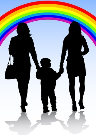 Vector image of the family of two women and a baby Vector