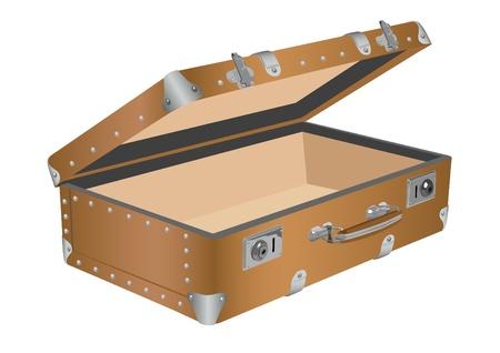 packing suitcase: Disegno di una vecchia valigia su sfondo bianco vettoriale Vettoriali