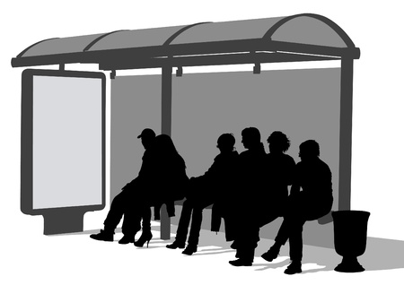 Drawing crowds at public transport stop Stock Vector - 9716264
