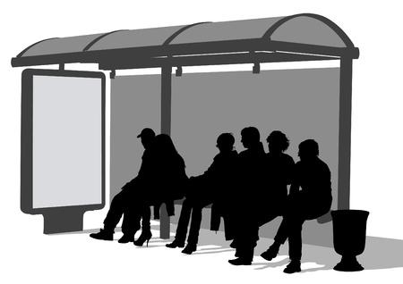 Rysowanie tłumów na przystanku komunikacji miejskiej