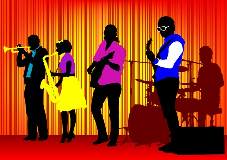 jazz music: drawing concert of jazz music. Silhouettes on color background