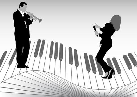 jazz club: image du chanteur et trompettiste sur les touches