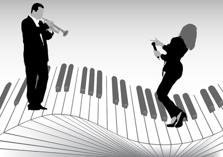 brass wind: image of singer and trumpet player on keys