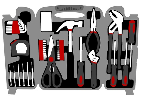 Color of a suitcase with work tools Vector