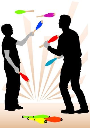 juggling: Imagen vectorial de malabaristas en representaci�n