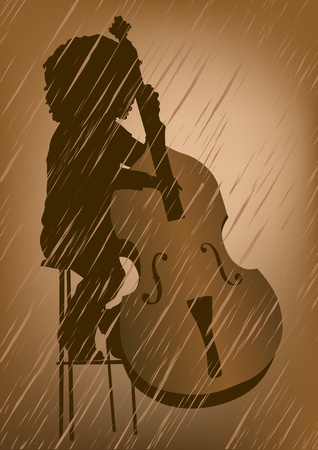contrabass: drawing men to double bass at concert Illustration