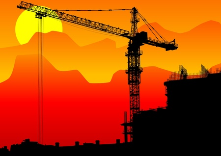 construction cranes and buildings Vector