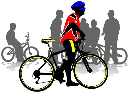 a cyclist in city Vector