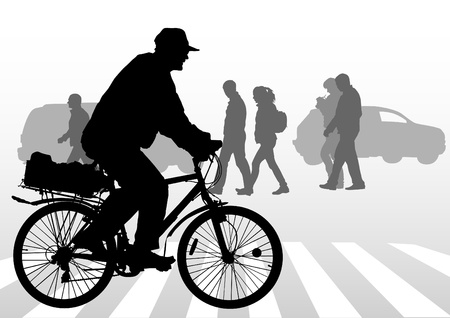 crosswalk: drawing silhouette of a cyclist boy. Silhouette of people