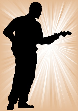 guy playing guitar: a man with an electric guitar