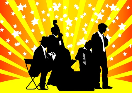dessin musique d'orchestre sur un fond de couleur Banque d'images - 9737103