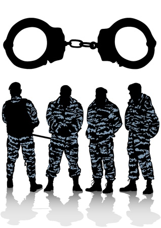 group of special police forces and handcuffs Stock Vector - 9737123