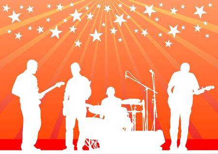 drawing musical group in concert on stage Vector