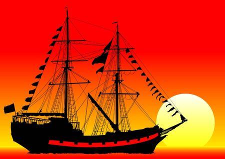 old sailing ship Stock Vector - 9737122