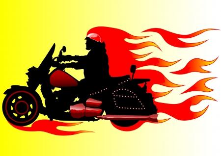 casco moto: Dibujo de una moto en llamas vectorial