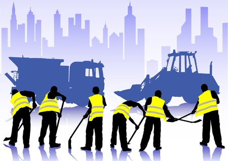 Vector figure construction worker with a shovel Vector